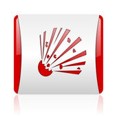 Bomb red and white square web glossy icon — Stock Photo