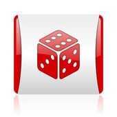 Dice red and white square web glossy icon — Stock Photo