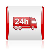 Consegna 24h rosso e bianco quadrato lucido icona web — Foto Stock