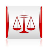 Justice red and white square web glossy icon — Stock Photo