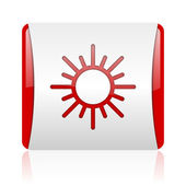 Sun red and white square web glossy icon — Stock Photo