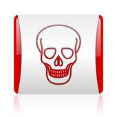 Cráneo rojo y blanco cuadrado icono brillante web — Foto de Stock
