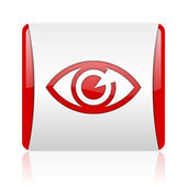 Eye red and white square web glossy icon — Stock Photo
