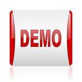 Demo red and white square web glossy icon — Stock Photo