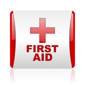 First aid red and white square web glossy icon — Stock Photo