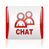 Chat red and white square web glossy icon — Stock Photo
