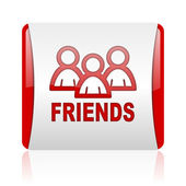 Friends red and white square web glossy icon — Stock Photo