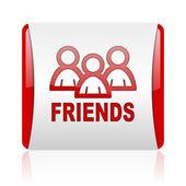 友達赤と白の正方形の光沢のあるアイコン — ストック写真