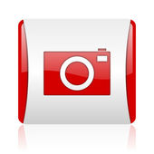 Camera red and white square web glossy icon — Stock Photo