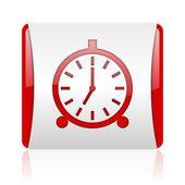 Relógio despertador vermelho e branco quadrado brilhante ícone web — Foto Stock