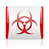 Virus red and white square web glossy icon — Stock Photo