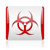 ウイルスの赤と白の正方形の web 光沢のあるアイコン — ストック写真