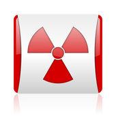 Radiazioni rosso e bianco quadrato lucido icona web — Foto Stock