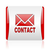 Contact red and white square web glossy icon — Stock Photo