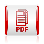 Pdf red and white square web glossy icon — Foto Stock