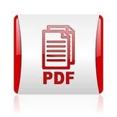 Pdf rojo y blanco cuadrado icono brillante web — Foto de Stock