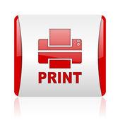 Icono brillante impresión web cuadrado rojo y blanco — Foto de Stock