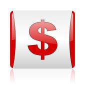 Us dollar red and white square web glossy icon — Stock Photo