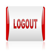 Logout red and white square web glossy icon — Stock Photo