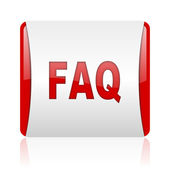 Faq red and white square web glossy icon — Stockfoto