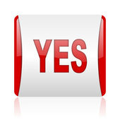 Yes red and white square web glossy icon — Stock Photo