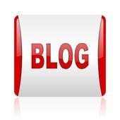 ブログの赤と白の正方形の web 光沢のあるアイコン — ストック写真