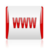 Www red and white square web glossy icon — Stock Photo