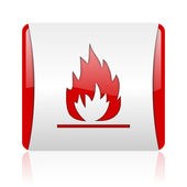 Flames red and white square web glossy icon — Stock Photo