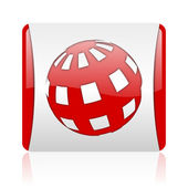 Earth red and white square web glossy icon — Stock Photo