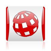 地球の赤と白の正方形の web 光沢のあるアイコン — ストック写真