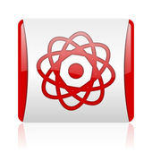 Atom red and white square web glossy icon — Stock Photo