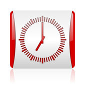 Clock red and white square web glossy icon — Zdjęcie stockowe