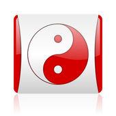 Ying yang rojo y blanco cuadrado icono brillante web — Foto de Stock
