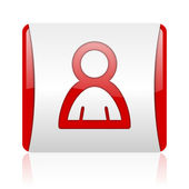 Account red and white square web glossy icon — Stock Photo