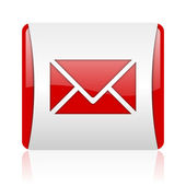 Mail red and white square web glossy icon — Stock Photo