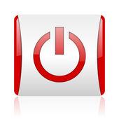 Energía roja y blanca cuadrada icono brillante web — Foto de Stock