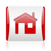 Icono brillante página web cuadrado rojo y blanco — Foto de Stock