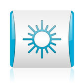 Sun blue and white square web glossy icon — Stock Photo