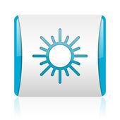 Sol azul y blanco cuadrado icono brillante web — Foto de Stock
