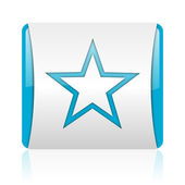 Star blue and white square web glossy icon — Stock Photo