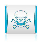 Skull blue and white square web glossy icon — Stock Photo
