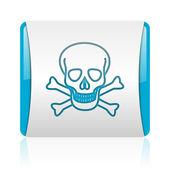 頭蓋骨の青と白の正方形の web 光沢のあるアイコン — ストック写真