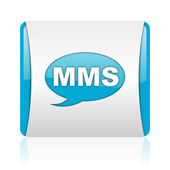 Mms blauw en wit vierkant web glanzende pictogram — Stockfoto