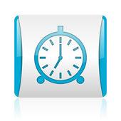 Relógio despertador azul e branco quadrado brilhante ícone web — Foto Stock