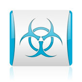 Virus blue and white square web glossy icon — Stock Photo