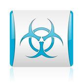 Virus blå och vit kvadrat web blanka ikonen — Stockfoto
