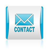 Contact blue and white square web glossy icon — Stock Photo