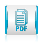Pdf blue and white square web glossy icon — Stock Photo