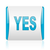 Yes blue and white square web glossy icon — Stock Photo