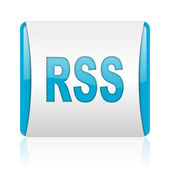 Rss blue and white square web glossy icon — Stock Photo